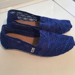 Toms Royal Blue Lace Slip Ons 7.5
